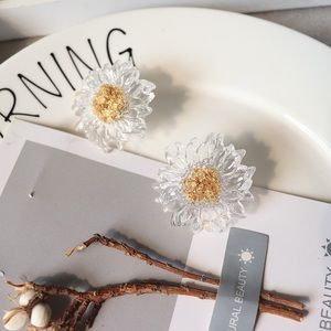 Anthropologie Jewelry - Transparent sunflower earrings